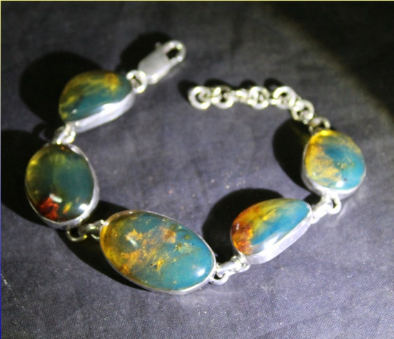 Dominican Natural Clear Sky Blue Amber .925 Sterling Silver Bracelet 6 inch +ext