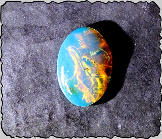 Premium Dominican Natural Clear Sky Blue Amber Oval Cabochon 18x12x4mm 1g