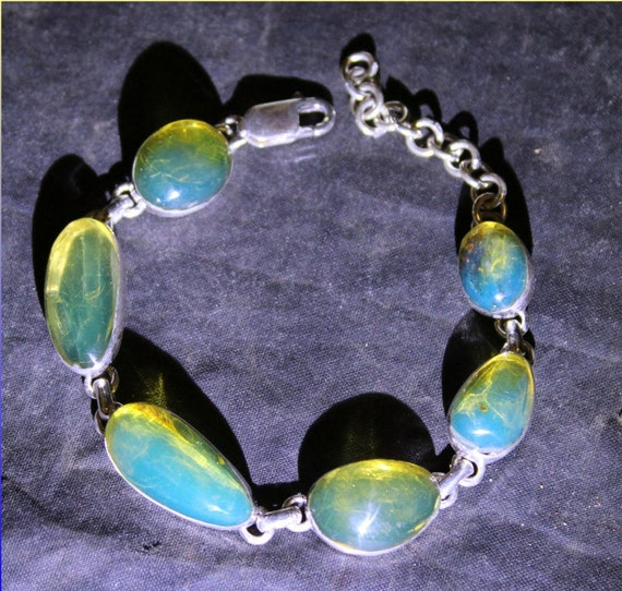 Dominican Natural Crystal Clear Sky Blue Amber .925 Sterling Silver Bracelet 6.5inch