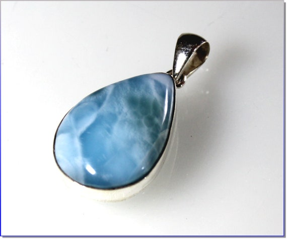 Exquisite Natural Sky Blue Larimar .925 Sterling Silver Pendant 37mm