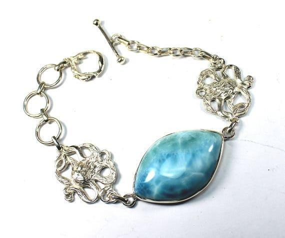 Exquisite Sky Blue Larimar .925 Sterling Silver Mermaid Bracelet 8.8 inch adjustable  C-18-1739
