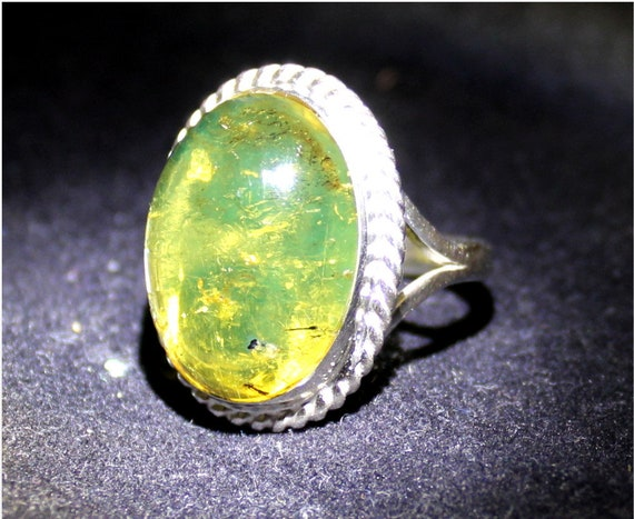 Dominican Natural Clear Yellow Green Amber .925 Sterling Silver Ring #7 .5