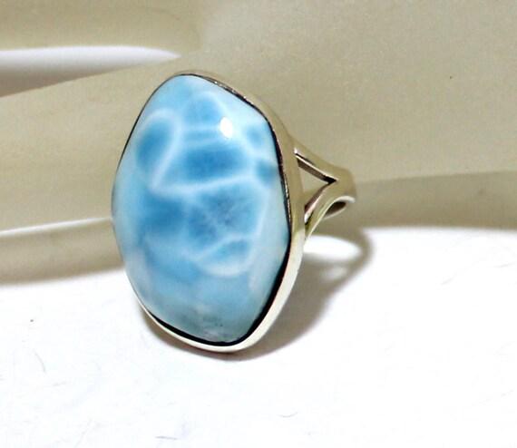 Impressive Sky Blue Larimar .925 Sterling Silver Ring #7 .5  C-82-1773