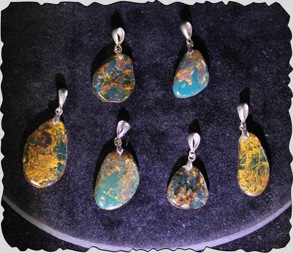 Wholesale Lot 6 Dominican Sky Blue Amber .925 Sterling Silver Pendants 48cts