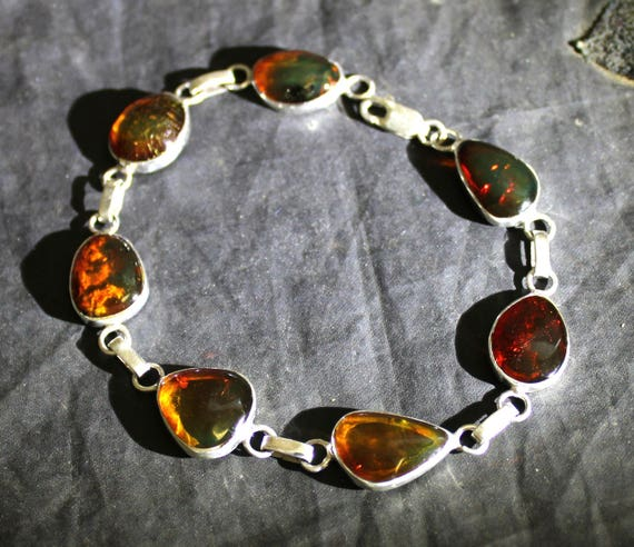 Dominican Clear Green-ish Red Amber .925 Sterling Silver Bracelet 8.4inch C-70-1733