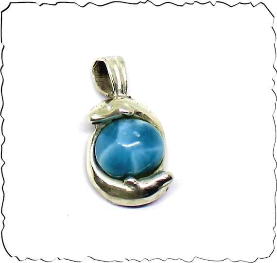Premium Natural Volcanic Blue AAA++ Larimar .925 Sterling Silver Pendant 26mm