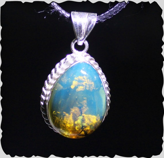 Exquisite Natural Clear Sky Blue Amber .925 Sterling Silver Pendant 1.4inch