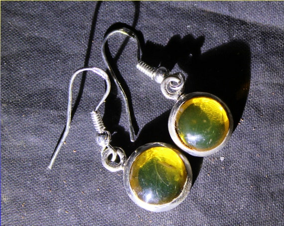 Dominican Natural Clear Light Green Amber .925 Sterling Silver Earrings 1.2inch