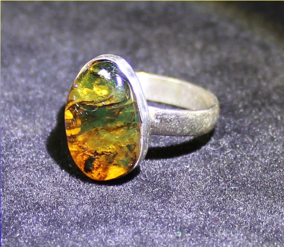 Dominican Natural Clear Orange Green Amber .925 Sterling Silver Ring #6.5   free resizing