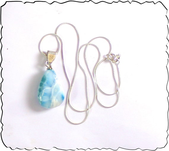 Prettily Natural Deep Blue Larimar .925 Sterling Silver Necklace 17.6inch
