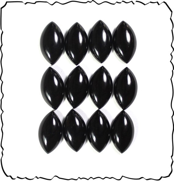 Wholesale Lot premium quality polished 12 Deep Black Coral marquise Cabochons  9.4g size 20x11mm
