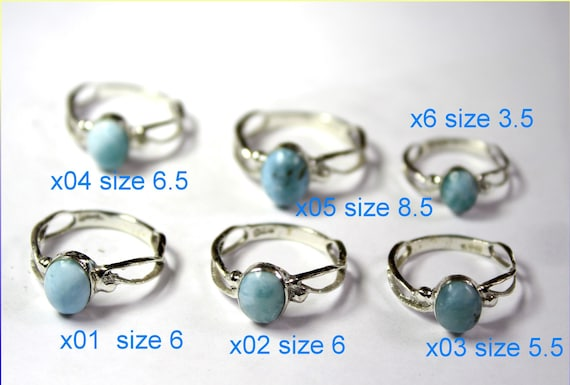 Exquisite Lovely Natural Light Blue Larimar .925 Sterling Silver Ring
