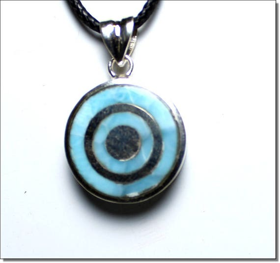 Outstanding Genuine Sky Blue Larimar .925 Sterling Silver Target Pendant 34mm C-27-1811