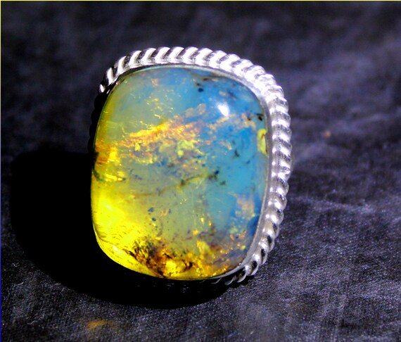 Premium Inclusion Natural Clear Sky Blue AAA++ Amber .925 Sterling Silver Ring #8