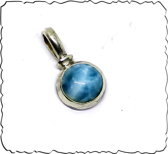 Excellent Natural Volcanic Blue AAA++ Larimar .925 Sterling Silver Pendant 26mm