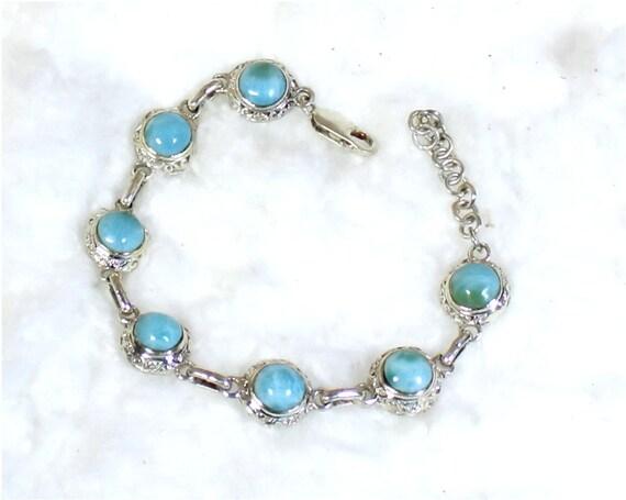 Impressive Natural Sky Blue Larimar .925 Sterling Silver Bracelet 6.6 +ext.