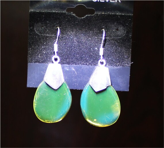 Dominican Natural Genuine Clear Sky Blue Green Amber .925 Sterling Silver Earrings 1.8 inch C-82-1823