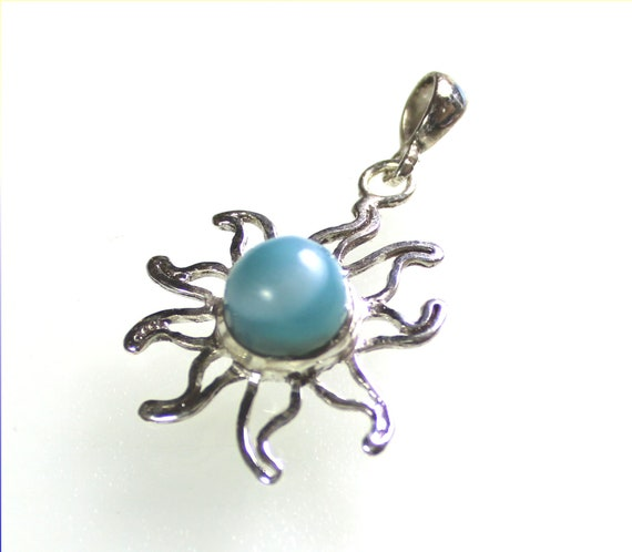 Exquisite Natural Sky Blue Larimar .925 Sterling Silver Sun Pendant 1.7 inch