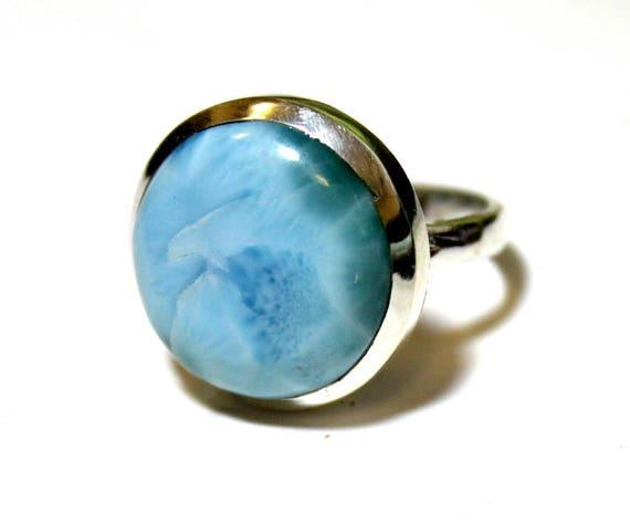 Charming Design Sky Blue Larimar .925 Sterling Silver Ring #8.5 C-74-1769
