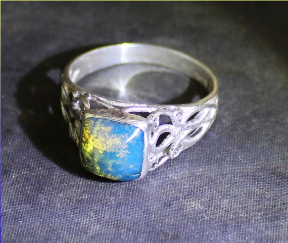 True Dominican Natural Clear Sky Blue Amber .925 Sterling Silver Ring #9.5 free resizing