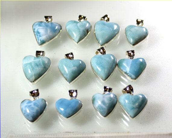 Wholesale Liquidation lot 12 Sky Blue Genuine Larimar .925 Sterling Silver Heart Pendants 92 grams