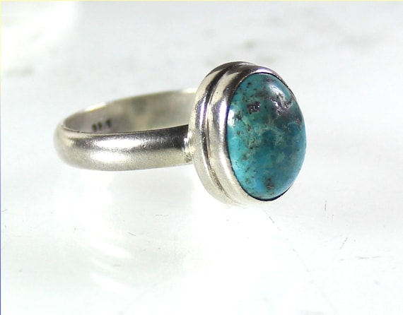 Exquisite Natural Greenish Blue Chrysocolla .925 Sterling Silver Ring #10.5
