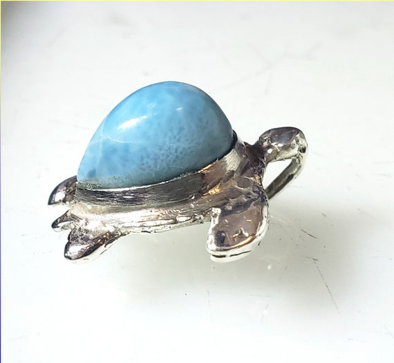 Exquisite Natural Sky Blue Larimar .925 Sterling Silver Turtle Pendant 1 inch