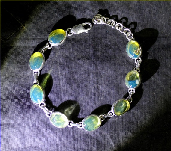 Exquisite Dominican Natural Oval Crystal Clear Sky Blue Amber .925 Sterling Silver Bracelet 7 inch + ext
