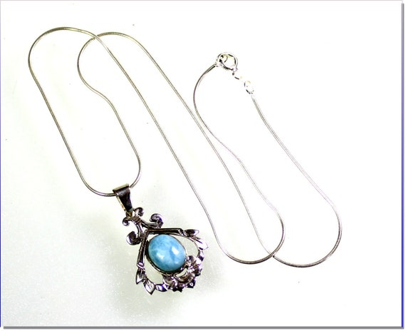 Sky Blue  Larimar .925 Solid Sterling Silver Necklace free snake chain