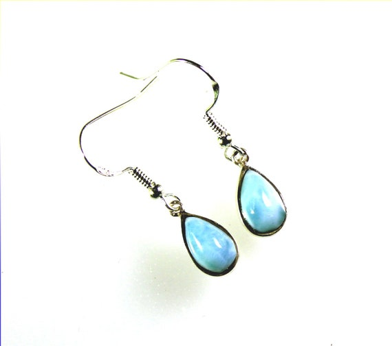 Lovely Natural Sky Blue Larimar .925 Sterling Silver Teardrop Dangle Earrings 1.3inch