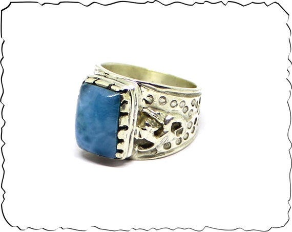 Exquisite Premium Natural Volcanic Blue Larimar .925 Sterling Silver Celtic Dragon Ring #9 for men unisex