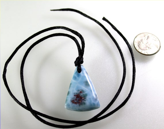 Charming Design 1.6inch Natural Sky Blue Red Larimar Pendant 80carats free cord Necklace
