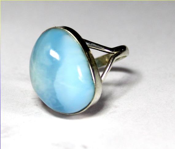 Splendid Natural Sky Blue Larimar .925 Sterling Silver Ring #6.5