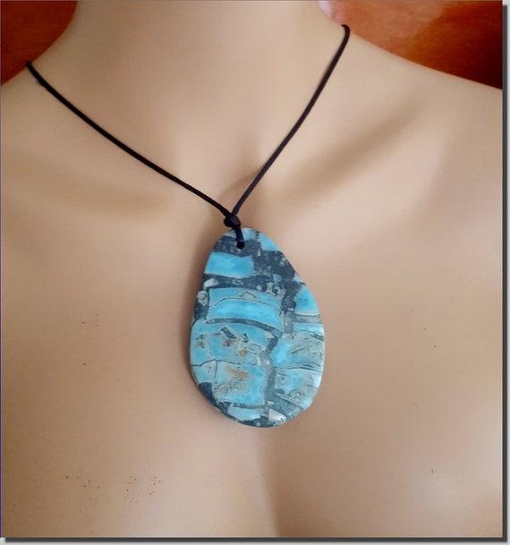 Hugh 3.3 inch Rarest Natural Design Sky Blue Larimar Pendant 410carats free cord