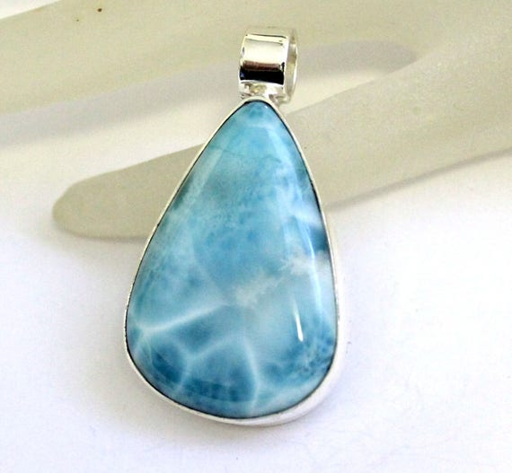 Charming Design Sky Blue AAA++ Larimar .925 Sterling Silver Pendant 48mm C-48-1762