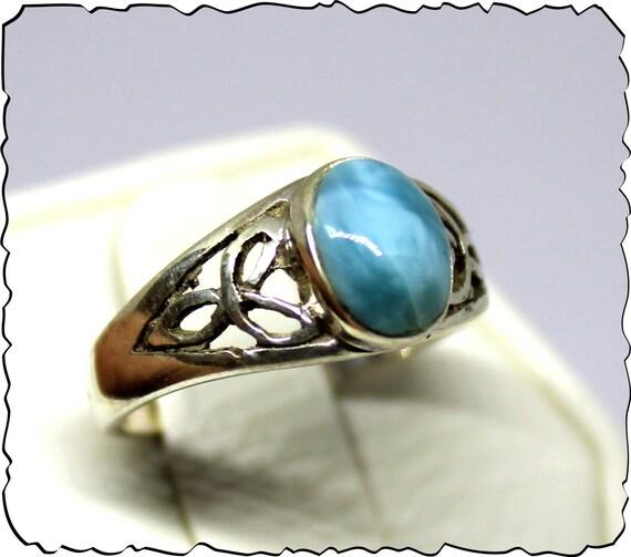 Impressive Natural Ocean Blue Larimar .925 Sterling Silver Celtic Ring #6.5  free resizing