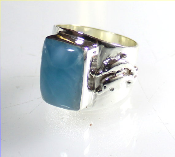 Hugh Natural Sky Blue Larimar AAA++ .925 Sterling Silver Dolphin Ring #11.5