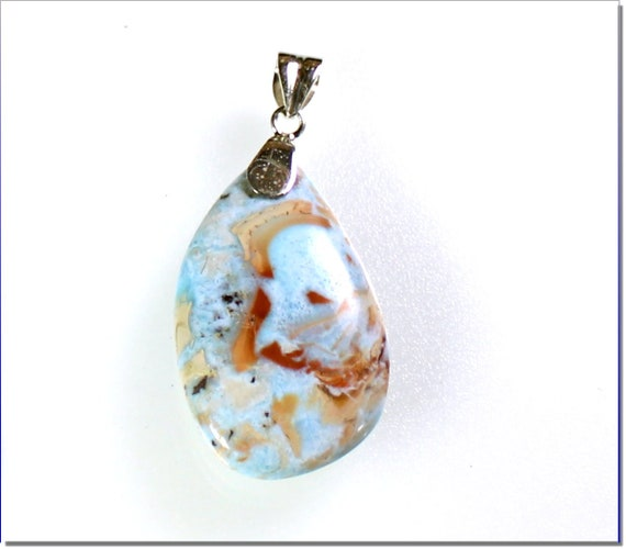 Exquisite 2.3 inch Natural Sky Blue Red Larimar .925 Sterling Silver Pendant 60mm