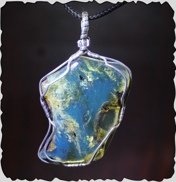 Exquisite 2.6inch Dominican Natural Clear Sky Blue Rough Amber .925 Sterling Silver Pendant