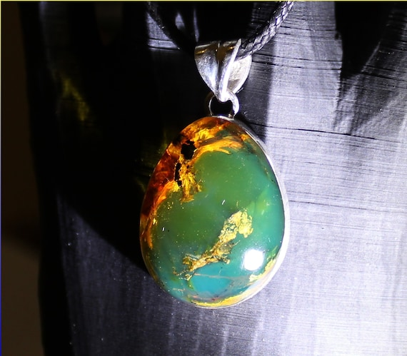 Outstanding Dominican Natural Clear Sky Blue Green Amber .925 Sterling Silver Pendant 1.5inch