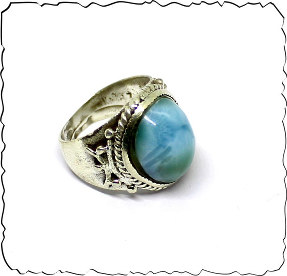 Exquisite Natural Deep Blue Larimar .925 Sterling Silver Ring #5.5