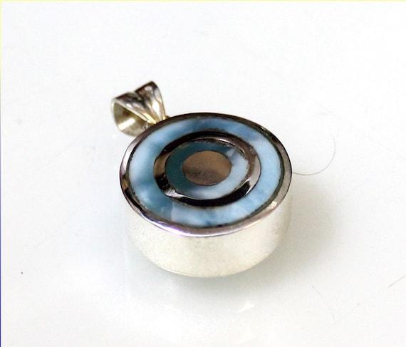 Excellent Natural Sky Blue Larimar .925 Sterling Silver Inline Target Pendant 34mm