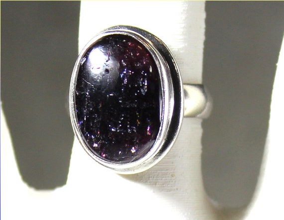 Exquisite Natural Clear Dark Deep Purple Amethyst .925 Sterling Silver Ring #6.5