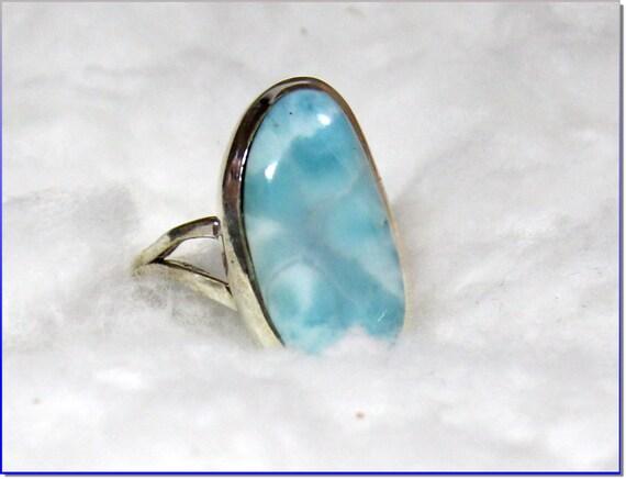 Excellent Natural Sky Blue Larimar .925 Sterling Silver Ring #6
