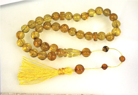 Dominican Natural Clear Light Green Amber Misbaha,worry Beads Islamic Prayer Beads Komboli 10mm