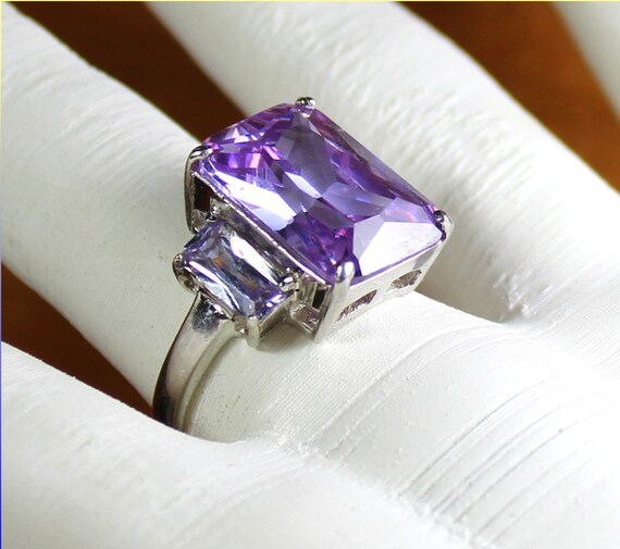 Outstanding Transparent Light Purple Zircon .925 Sterling Silver Ring #8