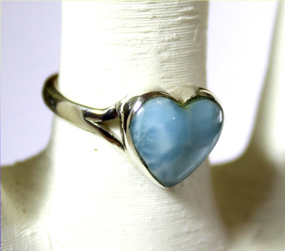 Exquisite Natural Sky Blue Larimar .925 Sterling Silver Heart Ring #7 .5