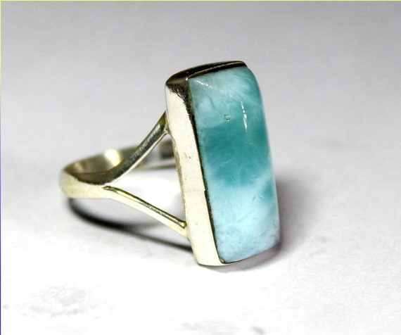 Charming Design Natural Ocean Blue Larimar .925 Sterling Silver Ring #7