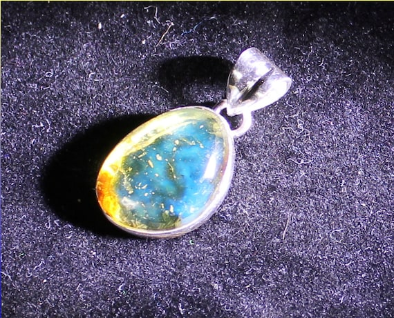 Dominican Natural Clear Royal Blue Amber .925 Sterling Silver Pendant 28mm