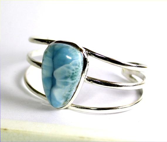 Charming Design Natural Sky Blue Larimar .925 Sterling Silver Bangle 6.5inch